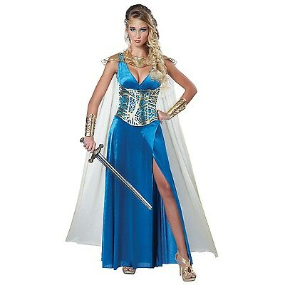 Womens Warrior Queen Costume Medieval Times Halloween Fancy Dress Party Outfit