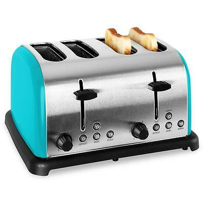 Turquoise 4 Slice Toaster Wide Slot 1 Side Bagel Toast Stainless Steel Retro New