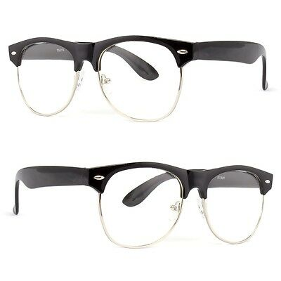 Fashion Half Frame CLEAR LENS GLASSES Black Silver Color Vintage Retro NEW l