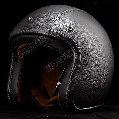 NEW! OPEN FACE SCOOTER MOTORBIKE MOTORCYCLE MOD RETRO HELMET Black leather