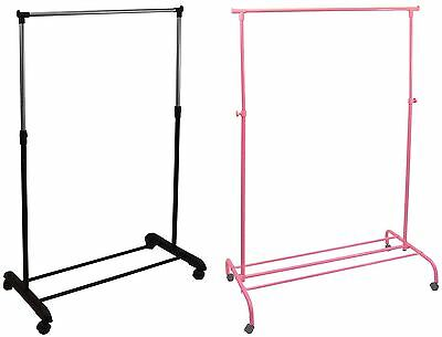 Single Garment Rack Silver Pink Adjustable Portable Clothes Hanging Rail Stand