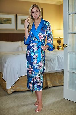 100% Silk, Women's Long Robe/wrap with Shawl Collar-Blue Sakura