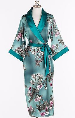 100% Silk, Women's Long Robe/wrap with Shawl Collar-Jade Garden
