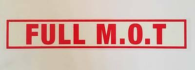 Full MOT History 10x Small Self Cling Reusable Car Window Display Stickers