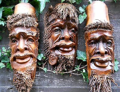 Carved Wooden Bamboo Root Old Man Face Mask NEW STYLE 38-32 cm Indoor / Outdoor