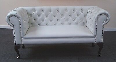 Small Slipper Sofa in a White Faux Leather Fabric *NEW*