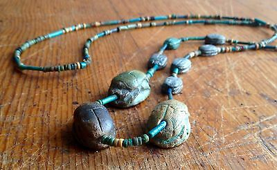 Ancient Egyptian Necklace SCARAB Beads RARE museum Quality.