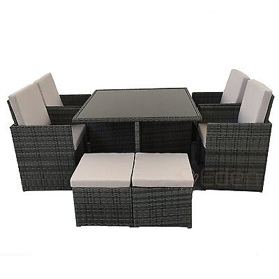 8-Seater Grey Rattan Cube Dining Table/Chair Set Garden/Outdoor/Patio Furniture