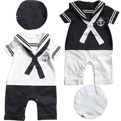 Lovely Navy Sailor Style Rompers Baby Boy One Piece Bodysuit+Hat Cute Costume