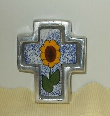 "Hand Painted Mexican Pottery Cross in Aluminum Frame-Sun Flower on Blue-3-3/4"" T"