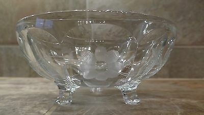 Antique Vintage Clear Glass Footed Glass Candy Dish with Etched Flowers