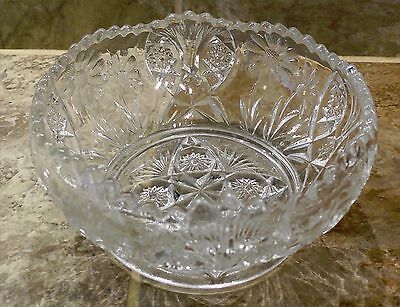 Antique Vintage Clear Glass Scalloped Top Candy Dish with Flowers
