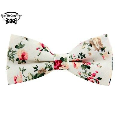 Mantieqingway Floral Bow Tie For Men Cotton Bowtie British Style Business Casual