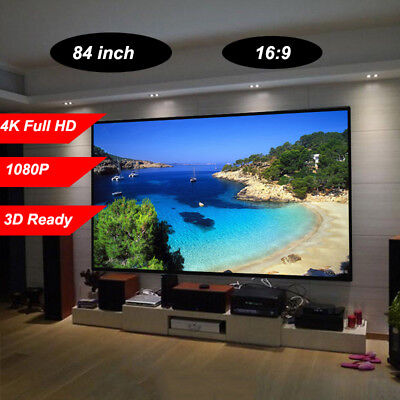 "Portable 100"" HD Projection Screen Matte Pull Down Projector Cinema 80"" x 60"" UK"