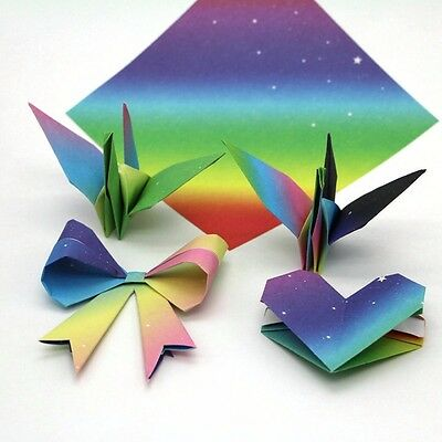 DIY Gradients Colored Rainbow Origami Paper Single Sided Hand Art Square Folding