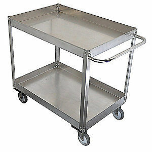 GRAINGE Stainless Steel Unassembled Utility Cart,SS,35 L,1200 lb, 11A468, Silver