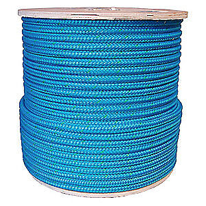 GRAINGER APP Rigging Line Rope,1/2 in x 600 ft,Double, 20TL66, Blue/Green Tracer