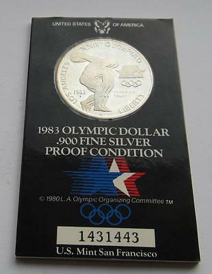USA Olympic Silver Proof Dollar dated 1983 - Good Collectable coin