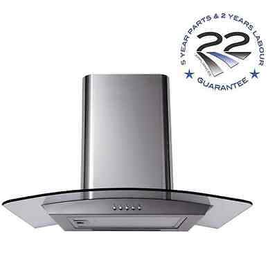 60cm Designer Curved Glass Stainless Steel Cooker Hood Extractor Fan