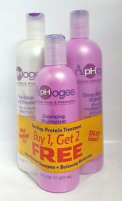 Aphogee Two-Step Protein Treatment,balancing Moisturizer,Deep shampoo TRIO Pack