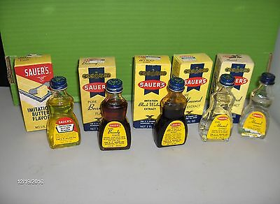 5 Vintage SAUER'S Flavor & Extract Bottles & Boxes Almond, Black Walnut, Brandy