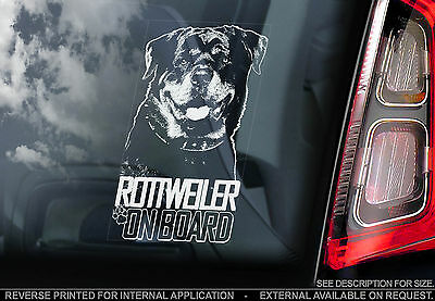Rottweiler - Car Window Sticker - Rottie Dog on Board Guard Sign Art Gift - TYP4