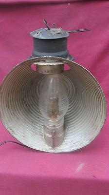 """Primitive Large Tin 12"""" Reflector Oil Lamp Ship Railroad  Electric Table Sconce"""