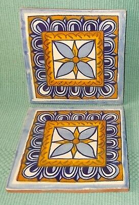 "Vintage Talavera Mexican Tile- Blue & Gold Design-Unmarked-6"" Square-V Nice"