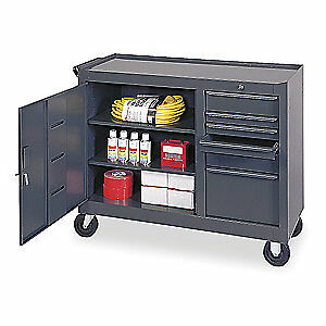 GRAINGER APPROVED Steel Mobile Service Bench,42 In. L,18 In. W, 6YE49, Gray