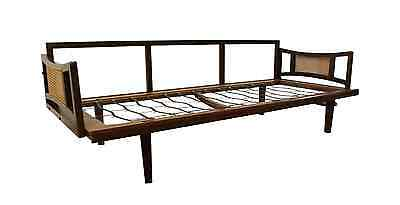 Mid-Century Danish Modern Adrian Pearsall-Style Caned Walnut Sofa/Daybed Frame