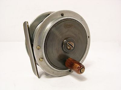 """Vintage Antique Brass Alloy Allcock 3"""" Hercules Combination Fly Fishing Reel"""