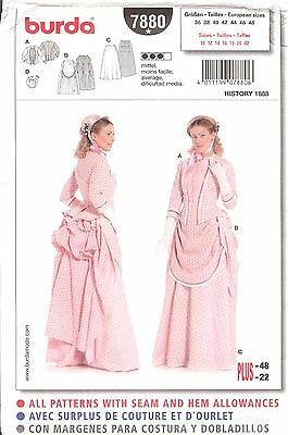 Old West dress tosew PATTERN Historical Burda 7880 sz 10-22 Bustle History 1888