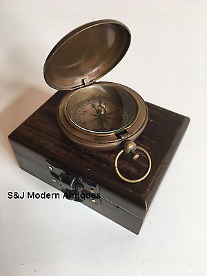"Antique Compass Vintage Brass Nautical 2"" Inch Wooden Teak Box Steampunk Retro"