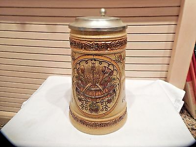 German Gerz Lidded Beer Stein--94% Zinn Lid
