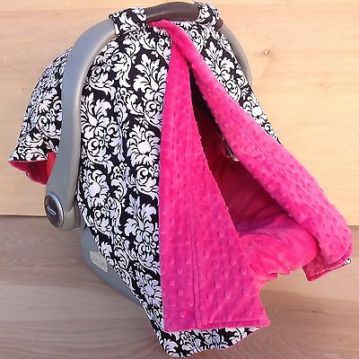 2 in 1 Car Seat Canopy Tent- Black Dandy Damask/ Hot Pink