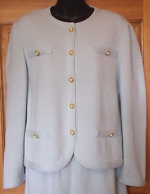 "Vintage Castleberry Robin's Egg Blue 2 Pc Knit Skirt Suit! Vtg 12=38"" Bust! Evc!"
