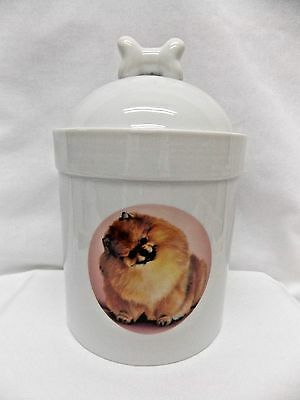 Pomeranian Dog Porcelain Treat Jar Fired Round Decal on Front 8 In Tall