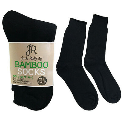 MENS BAMBOO Thick WORK SOCKS Hiking Heavy Duty Cushion Boot Black Odor Resistant