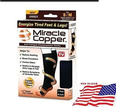 Miracle Copper Socks Anti Fatigue Compression black UNISEX -with box -USA seller