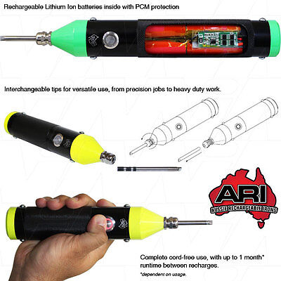 aussie made rechargeable cordless soldering iron lithium ion fast recharge