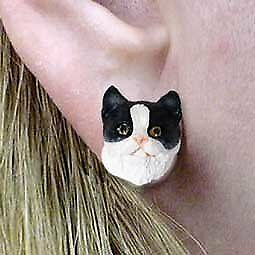 Conversation Concepts Black & White Shorthaired Tabby Cat Earrings Post