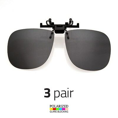 2287544708048 3 PAIR LARGE POLARIZED LENS GLARE BLOCK CLIP ON FLIP UP SUNGLASSES DRIVING f