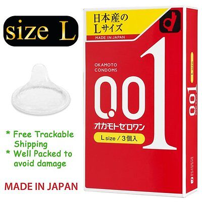 Ultra Sensitive Condom Okamoto 001 0.01 Zero One Japanese Thinnest Size Large L