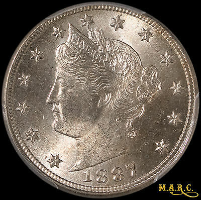 1887 MS64 PCGS 5C Liberty Nickel, Brilliant Lustrous Beauty! Free Shipping, MARC