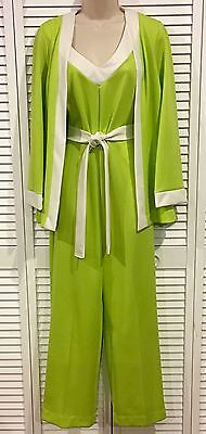 LIME GREEN GoGo VINTAGE Retro 70's VANITY FAIR 2-Pc. JUMPSUIT Romper LOUNGE MOD