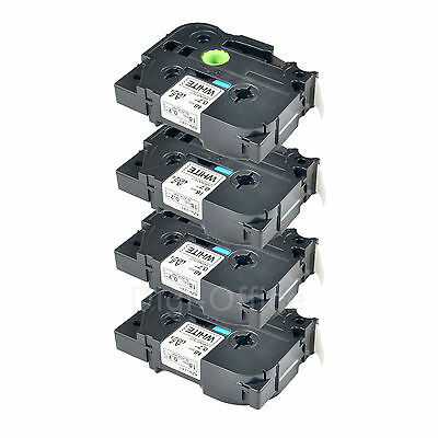 "4 PK 3/4"" TZe 241 TZ 241 BLACK on WHITE For BROTHER P-Touch PT2110 Label Printer"