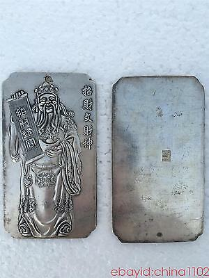 tibetan Old silver tibet Nepal statue Chinese The God of wealth Amulet thangka