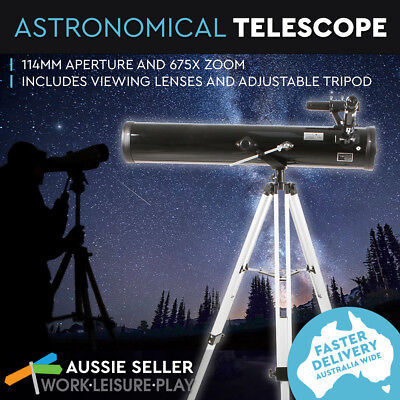 Astronomical Telescope 114mm Aperture 675x Zoom TL114A With Adjustable Tripod  O