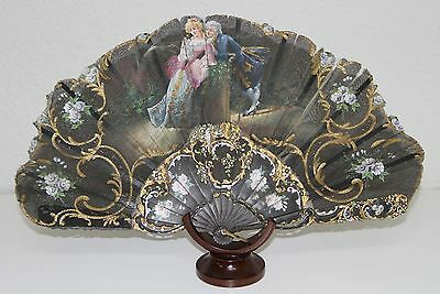 AB106 ANTIQUE FAN. CARVED WOOD STICKS. HAND PAINTED TULLE. 19th CENTURY