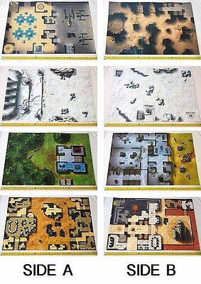 Star Wars Miniatures Game WOTC 4 Laminated Map Sets Hoth Endor Rancor Cantina